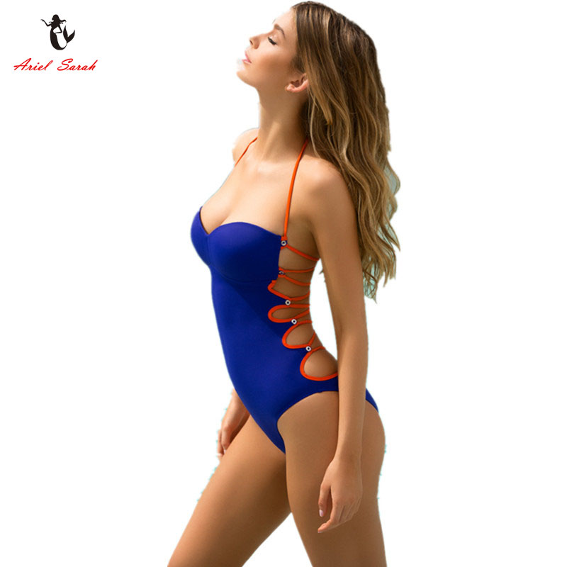 Ariel Sarah Brand 2017 New Swimsuit One Piece Hollow Out Swimwear Women Swimsuit Halter Bandage Monokini Maillot Bodysuit Q071