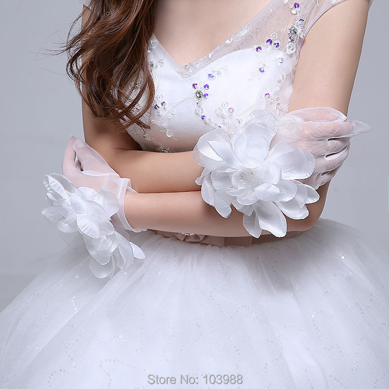 Cheap Free shipping Made Bridal Gloves net Flower Glove white ...