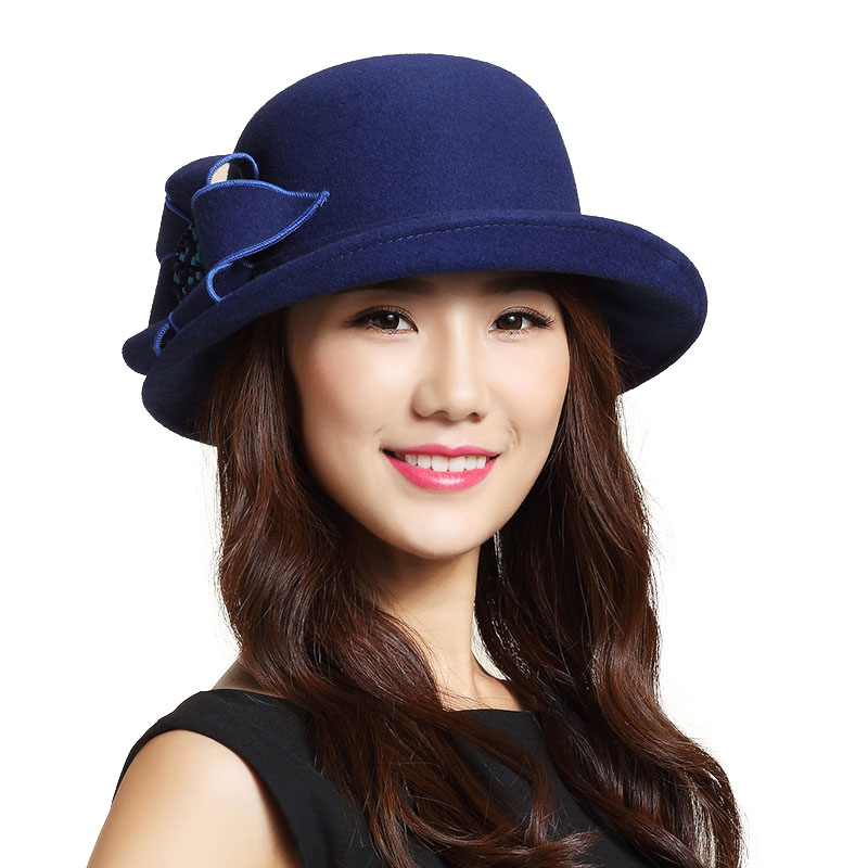 cba27c3813d FS Women Winter Fedora Hat Black Blue Wide Brim Australian Wool Church  Cloche Hats Lady Vintage Flower Felt Caps Chapeu Feminino