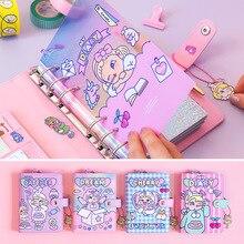 קוריאה תוספות רוח PU הערה ספר יומן תכנית DIY חמוד ילדה לב A6 רופף עלים תכנית יומן מרובה פנימי דפים שבוע תכנית פנקס