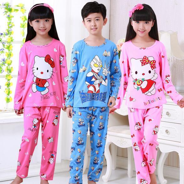 e0e52242a0 Hotsale Girls pajamas Baby Boys spring autumn long-sleeved thin kids  Clothes Lovely cartoon Children s Sleepwear Home wear NSL09. Anniversary  Sale ...