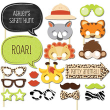 Lovely 20pcs Fun Safari Cartoon Jungle Animal Photo Booth Props on A Stick Baby Shower Kids Party Decoration Centerpieces(China)