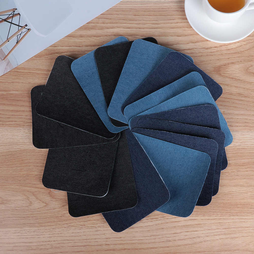 4/12Pcs Elbow Fabric Jeans Iron-on Patches Clothes DIY Repair Pants Knee Applique Apparel Self-adhesive Hole Repair Patch