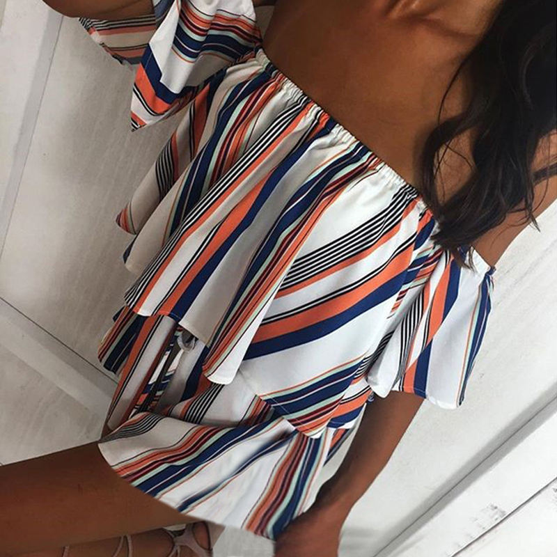 ELSVIOS 2018 New Spring Summer Floral Print Rompers Jumpsuits women Sexy off shoulder Overalls lady Casual boho Beach Playsuits 2