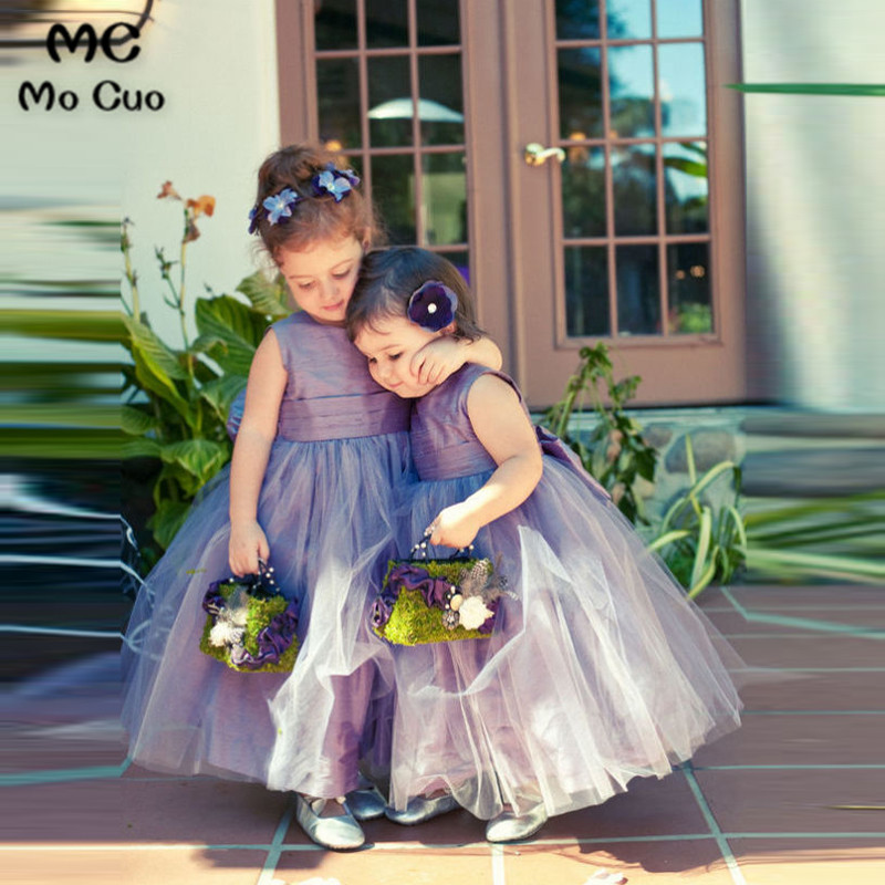 Baby 2018 Purple Tulle Pretty Flower Girl Dress for Wedding First Communion Dresses for Girls Kids Prom dresses