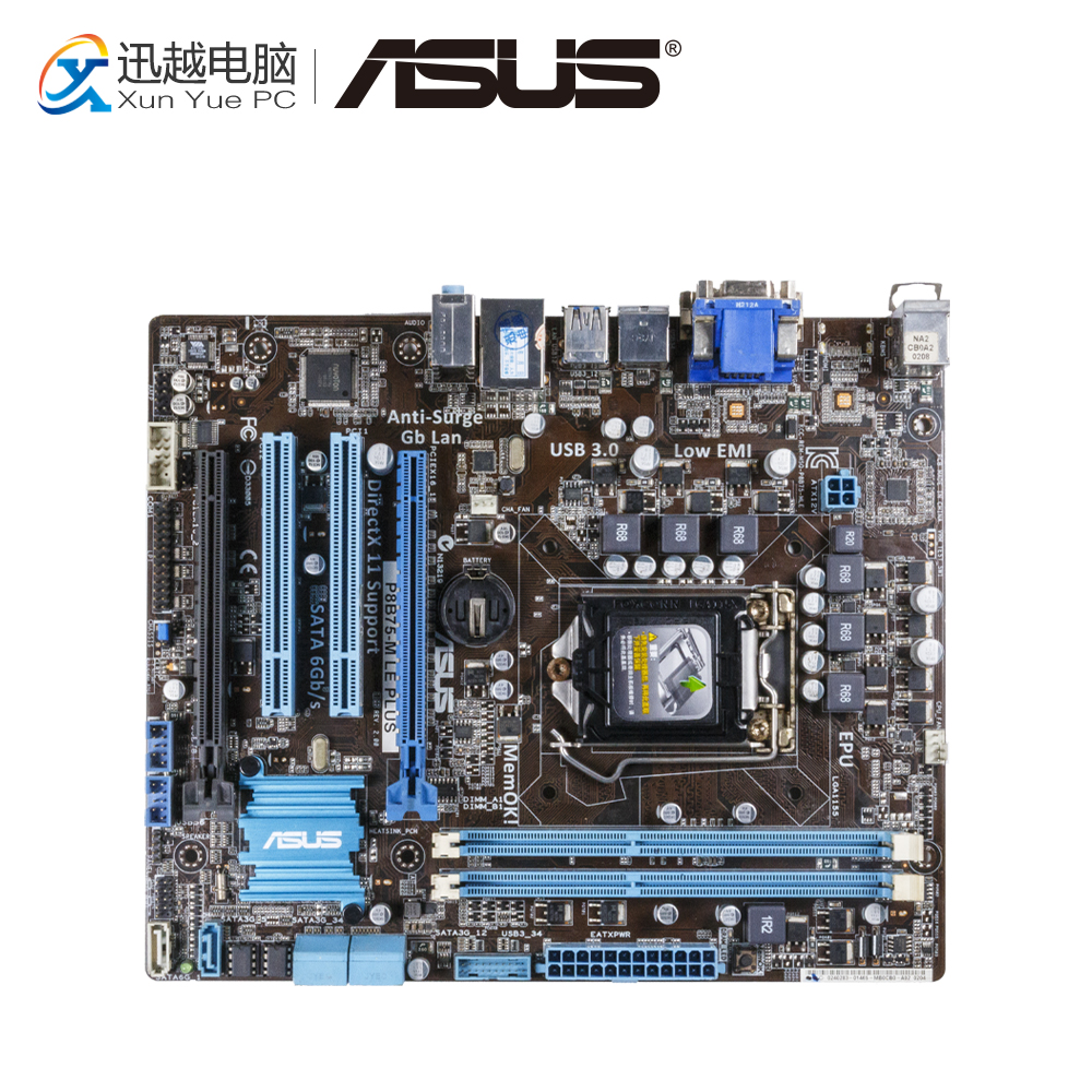 Asus P8B75-M LE PLUS Desktop Motherboard B75 Socket LGA 1155 i3 i5 i7 DDR3 16G SATA3 USB3.0 uATX asus p5g41t m lx3 plus motherboard lga 775 ddr3 8gb for intel g41 p5g41t m lx3 plus desktop mainboard systemboard sata ii used