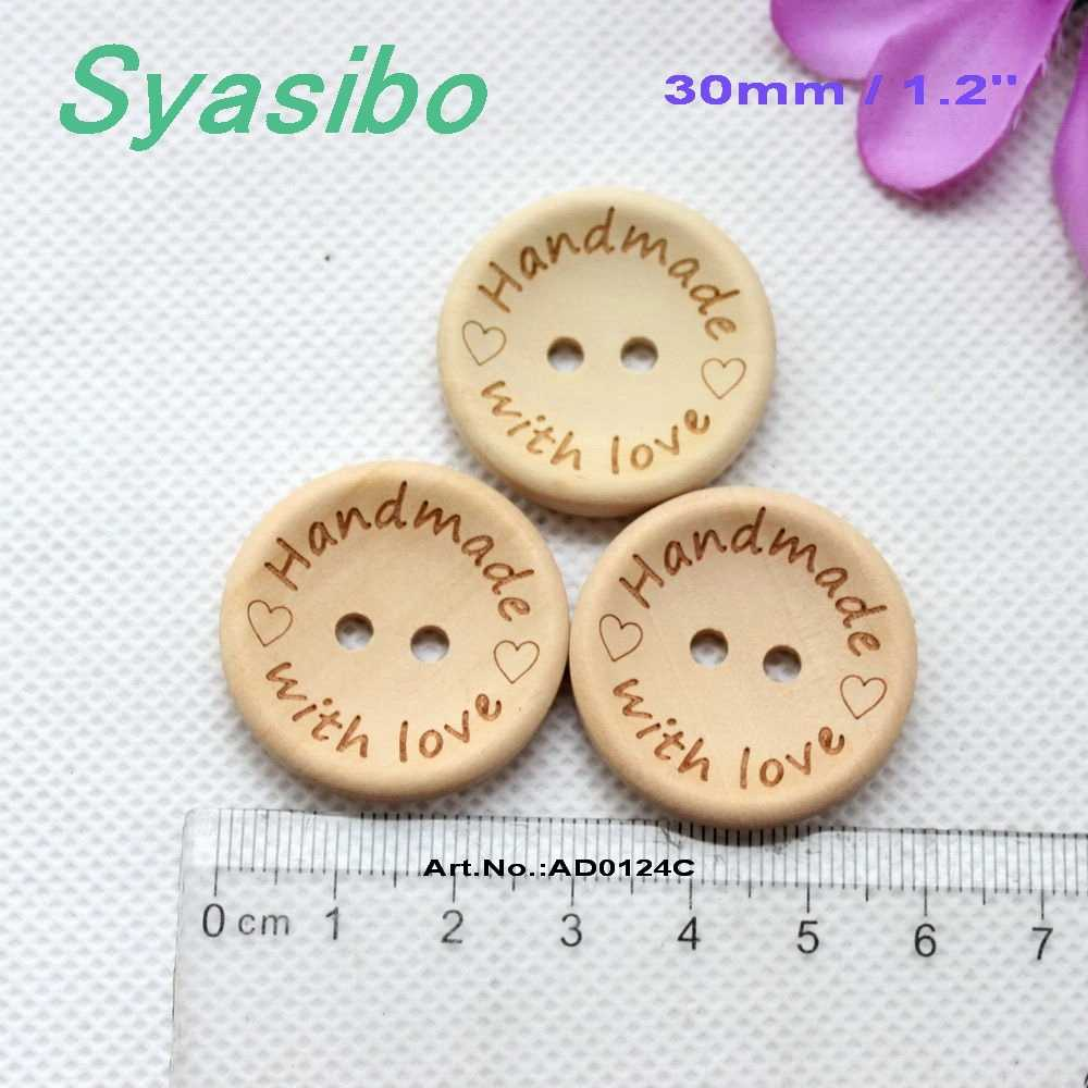 Wooden Buttons Handmade With Love 15 mm 20 mm 25 mm deux trous Multi Pack Craft Knit