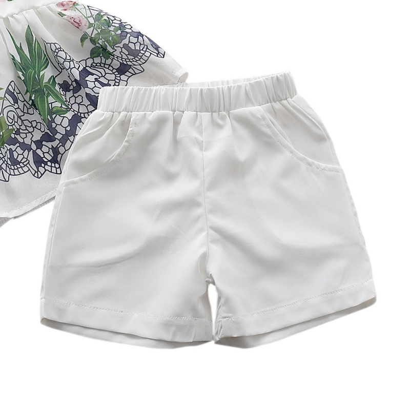 2Pcs Set Summer Baby Girls Casual Sleeveless Floral Print Irregular T shirt Dress Tops Shorts Suits Costume Set in Clothing Sets from Mother Kids