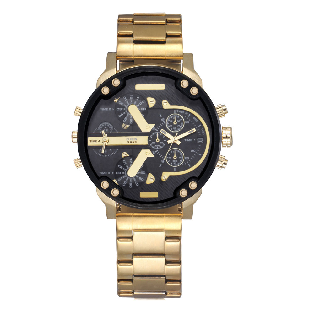 Prix pour Mode MEURT Hommes de Grand style du Cadran Or bracelet En acier Inoxydable Date Calendrier quartz montre-bracelet D052