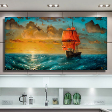 QKART  Landscape Ship Landscape Oil Painting Canvas Print Wall Pictures for Living Room Bedroom Posters and Prints