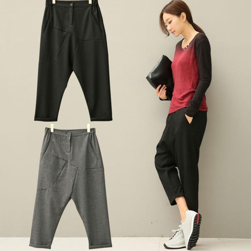 Módní kotníkové kalhoty s dlouhým kotníkem, léto na podzim, volné kalhoty, rozkrokové kalhoty, pevné kalhoty, dámské kalhoty Harem, kalhoty S-XL