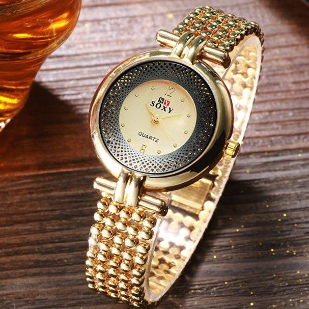 SOXY New Women Watch Silver/Golden/Black Luxury Hollow Steel Watch Womens Hombre Quartz Wrist Watch Metal Clock Retro Relogio