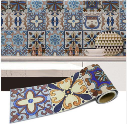 1 Roll 0,2x5x5 m Retro mosaico azulejos pegatinas cintura etiqueta de la pared de papel de cocina baño frontera impermeable decoración de casa