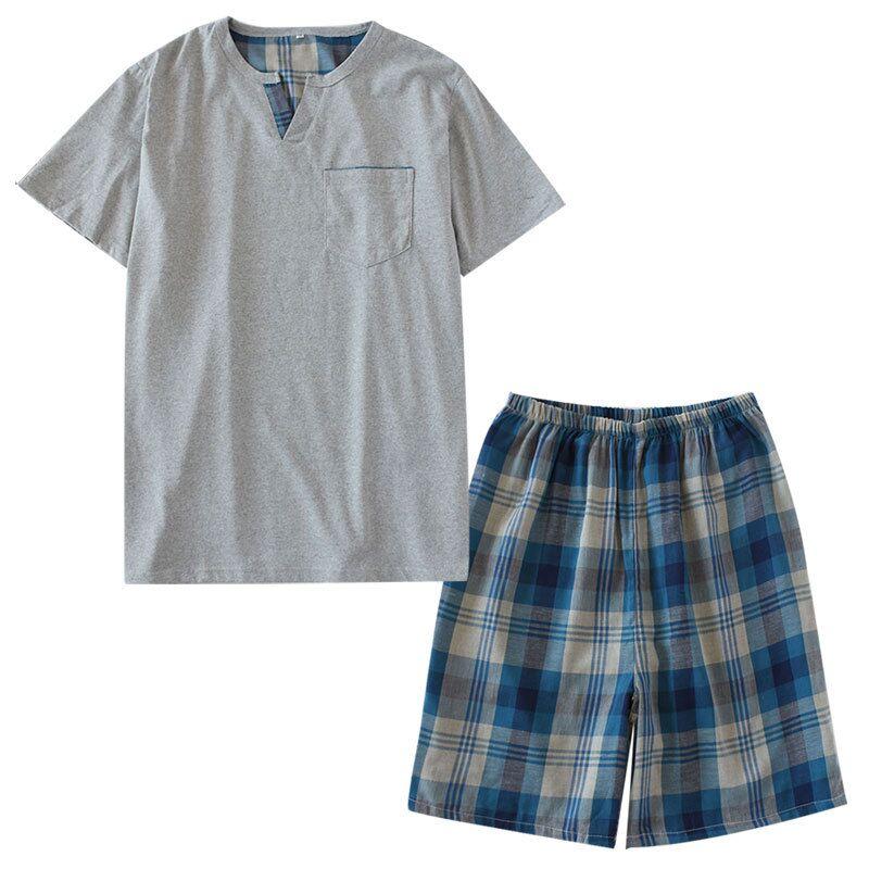 Pajamas-Sets Homewear Suit Short-Sleeved-Shorts Cotton Men's Summer Soft For Plus-Size