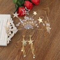 Cor do ouro de Casamento Nupcial Tiara Cocar Acessórios Contas De Cristal Estrelas Coroa e Brincos Borla Jóias de Noiva Da Princesa de Cabelo