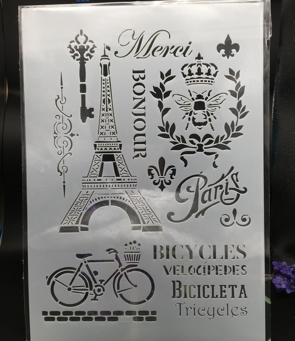 29*21cm A4 Paris Eiffel Tower DIY Layering Stencils Wall Painting Scrapbook Coloring Embossing Album Decorative Card Template