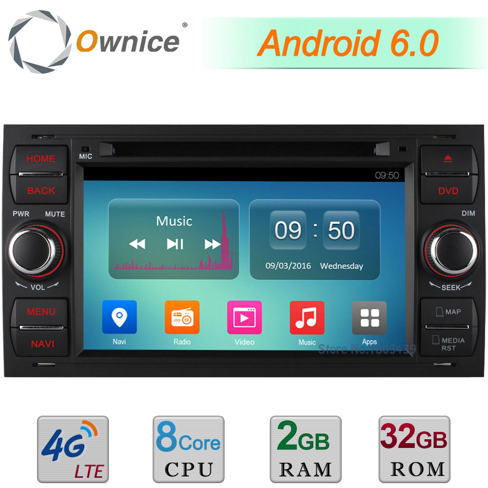 4G WIFI Android 6.0 Octa Core 2GB RAM 32GB ROM DAB Car DVD Player Radio For Ford Focus II Fusion Kuga Mondeo Galaxy C-MAX S-Max