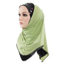 Fashion Woman hijab Solid Color Rhinestone Decoration Popular Shawls Scarf Headband Muslim Hijab Turban Free Shipping 12 Colors