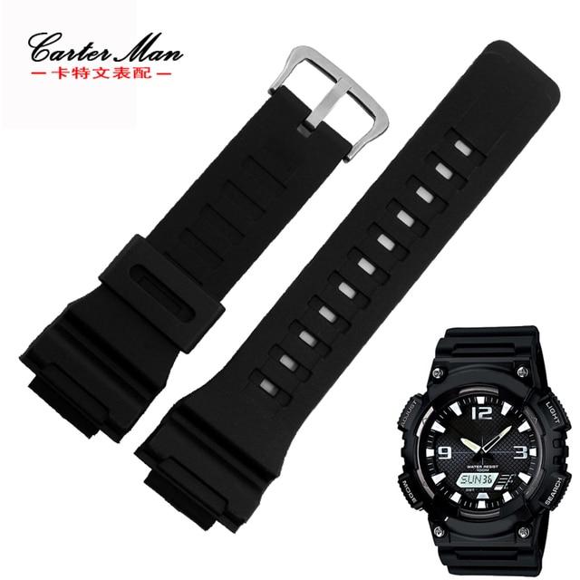6a584d14cb73 Correa de goma negra de alta calidad para reloj Casio W-735H AEQ-110W