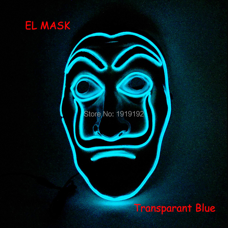 2018 New Style EL Mask Energy saving Colorful Select el wire mask by DC-3V For Party cheer Concert decoration Horror Face Mask