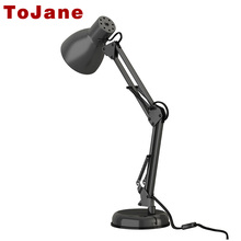 Tojane длинные настольная лампа swing arm Твин-руку клип на LED Настольная лампа Гибкие светодиодные Настольная лампа офис светодиодный свет бюро