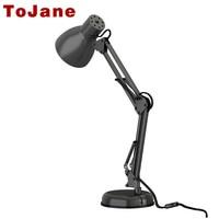 Tojane длинные настольная лампа swing arm Твин руку клип на LED Настольная лампа Гибкие светодиодные Настольная лампа офис светодиодный свет бюро