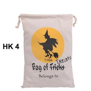 Image 5 - Sıcak Satış Pamuk Tuval El Çantası 30 adet/grup Cadılar Bayramı Çuval Cadılar Bayramı Hediyeler Çanta Şeker Torbaları 6 Stilleri Cadılar Bayramı Çuval çocuk