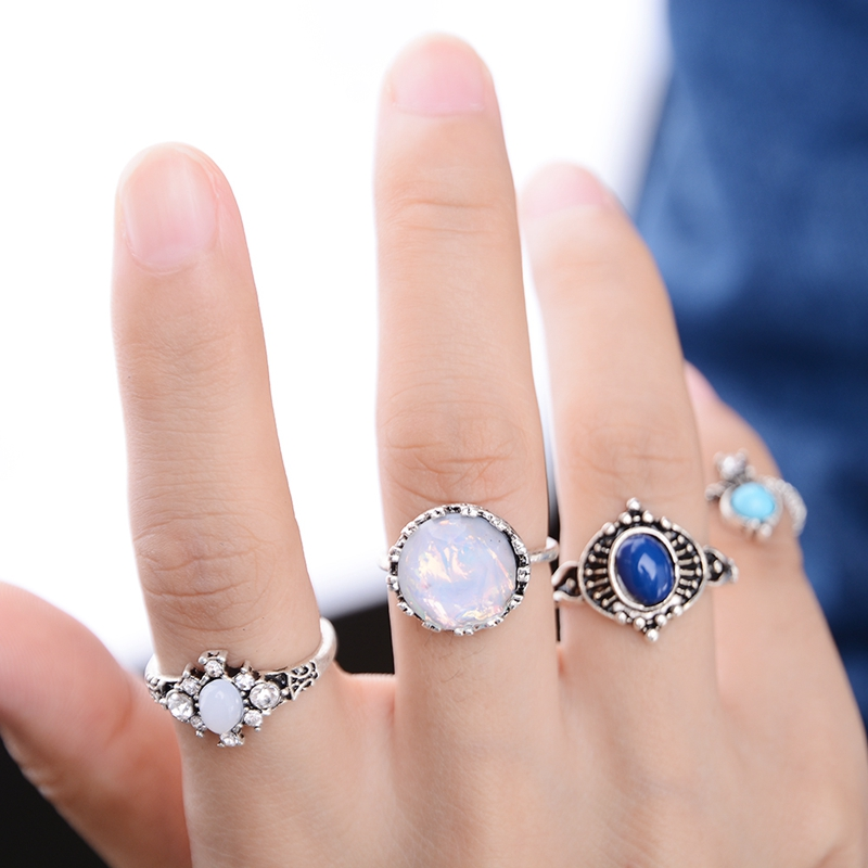 4Pcs/Set Vintage Tibetan Alloy Antique Silver Plated Flower Stone Beads Ring Set Steampunk Midi Knuckle Rings For Women