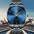 Uhr Business Männer Datum Clock Schwarz Stahl Herrenuhren Top marke Luxus Sport Automatische Mechanische uhr Blaues Zifferblatt NEUE-in Mechanische Uhren aus Uhren bei