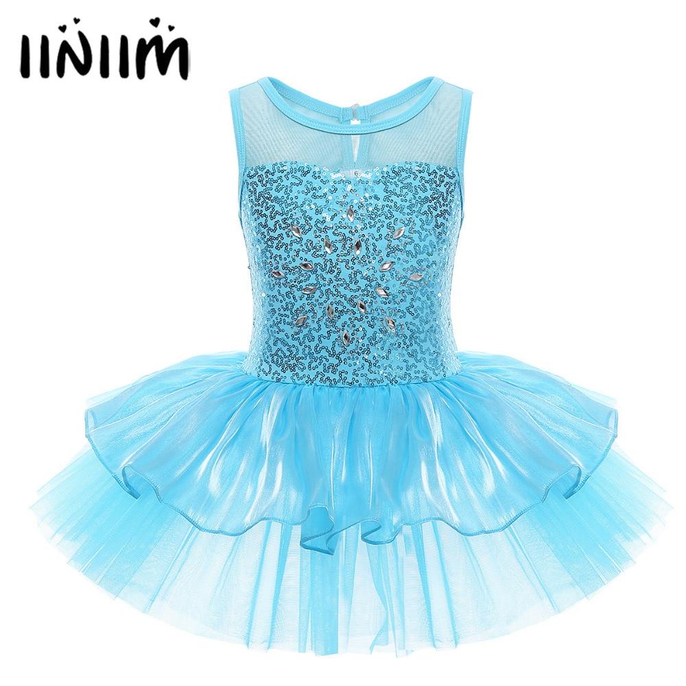 iiniim Ballet Tutu Dress for Kids Girls Sequined Dancewear Ballerina Gymnastic Leotard Dancing Dress Contemporary Dance Costumes