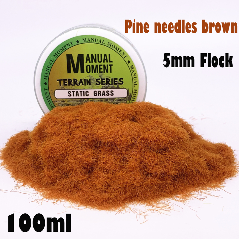 Model  Scene Materia Pine Needles Brown Turf Flock Lawn Nylon Grass Powder STATIC GRASS 5MM Modeling Hobby Craft Accessory