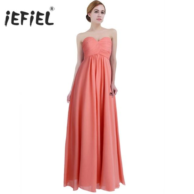 14a3e76e288fb US $20.99 35% OFF iEFiEL Summer Vestidos de Dress Ladies Womens Chiffon  Strapless Long Prom Gown Dresses Elegant Weeding Birthday Party Dress-in ...