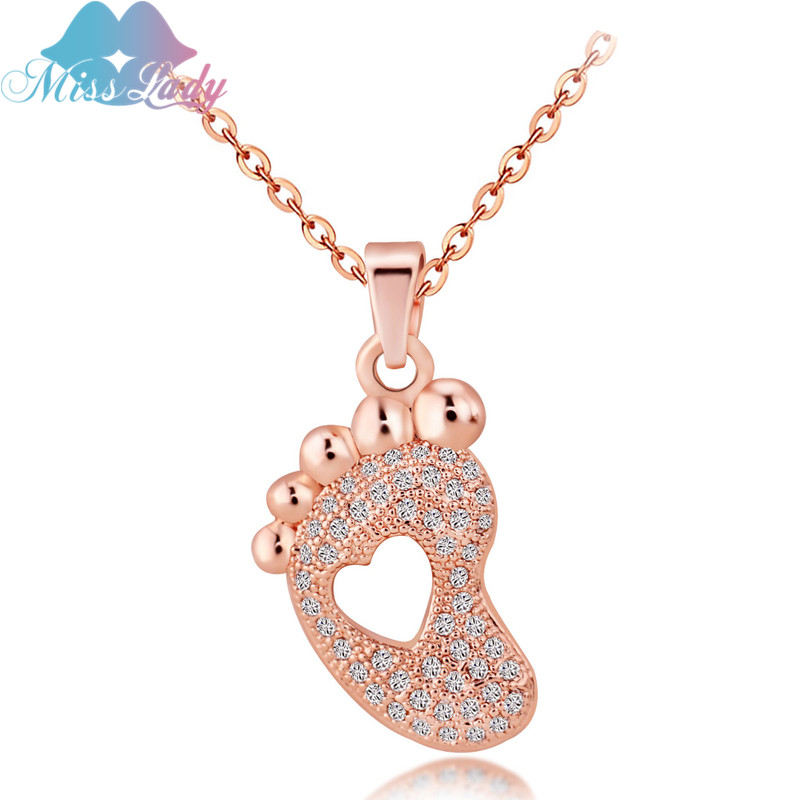 Rose Gold color Crystal Foot Shape Charm Micro Pave Heart Jewelry Chain baby Footprint Necklace For Women MLDS2013