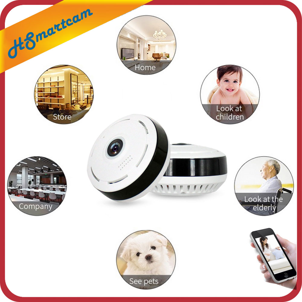 HD 360 Degree Panoramic Wide Angle MINI Cctv Camera Smart IPC Wireless Fisheye IP Camera P2P 960P HD Home Security Wifi Camera erasmart hd 960p p2p network wireless 360 panoramic fisheye digital zoom camera white