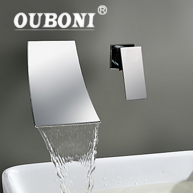 Wall Mounted Waterfall Spout Chrome Bathroom Basin Sink Faucet Single Handle Hot And Cold Mixer