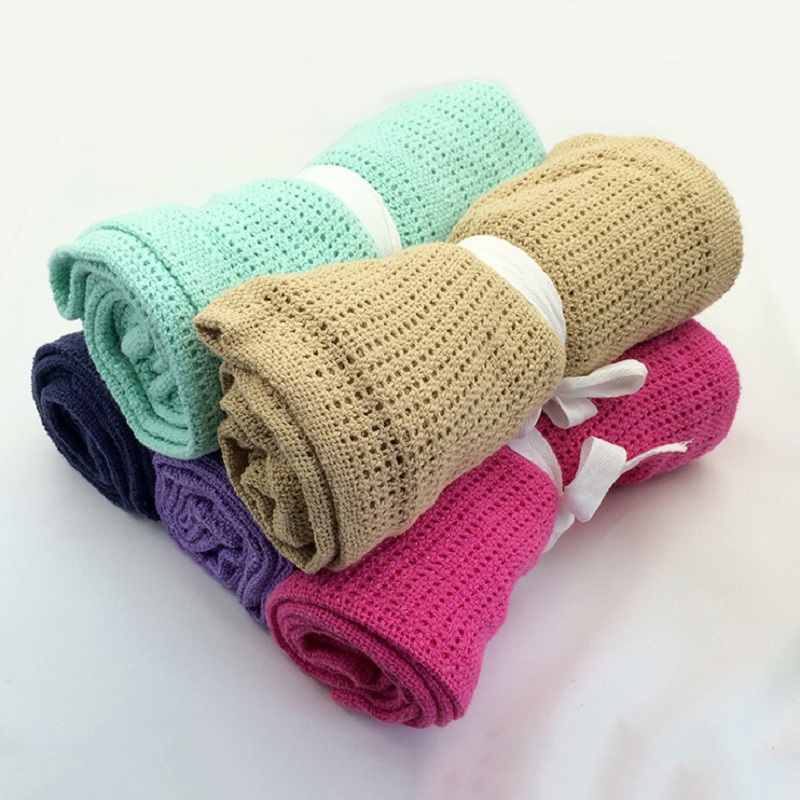 Newborn Baby Blankets Super Soft Cotton Crochet Summer 100cmX80cm Candy Color Prop Crib Casual Sleeping Bed Supplies Hole Wrap in Blanket Swaddling from Mother Kids