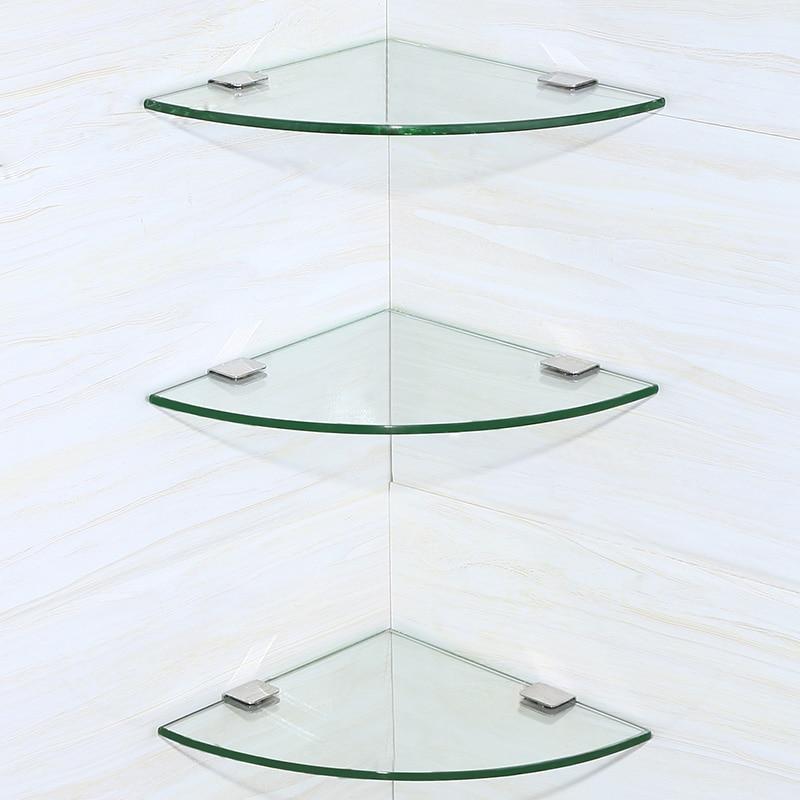 Полка для ванной комнаты Серебряная ванная треугольная стойка Настенная Ванная фурнитура Аксессуары для ванной комнаты стеклянные Угловые Ванная комната двойной треугольные стеллажи