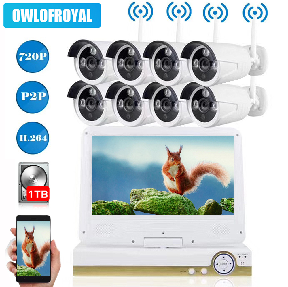 720P Wireless NVR Kit 8CH Wifi CCTV System P2P Indoor Outdoor Security IP Camera Video Surveillance Set with 10