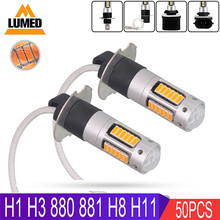 50x H1 H3 880 881 H11 LED H8 H27 Car 30 LED 4014 Fog Light Bulbs Auto Fog Lamp Driving Bulbs Super Bright(China)