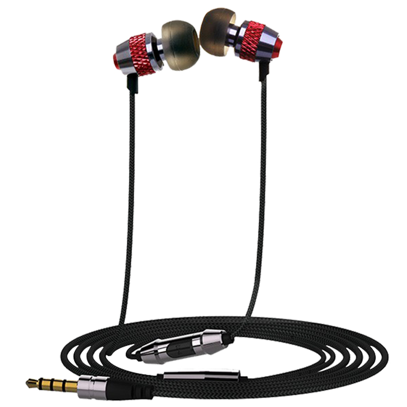 OVC In-Ear Earphone Fashion Accessory With Mic Nylon Line Stereo Bass Metal Earphone 3.5mm For Phone Computer