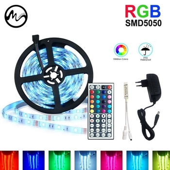 RGB LED 5050 Strip Light SMD 5050 1M 2M 5M 10M 3528 Waterproof LED RGB Strip Light with 12V Adapter 44 Key Remote Controller 1m smd 5050 rgb 60 led strip light dc 12v for christmas holiday
