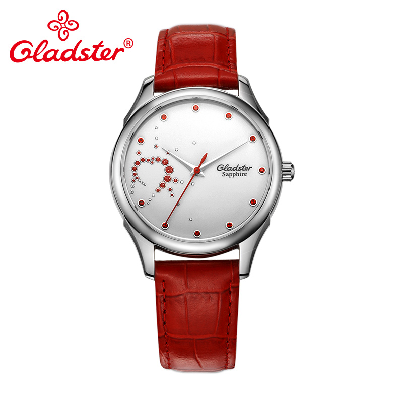 Gladster Fashion Sapphire Crystal Red Black Leather Lady Dress Wristwatch Quartz Japan MIYOTAGladster Fashion Sapphire Crystal Red Black Leather Lady Dress Wristwatch Quartz Japan MIYOTA