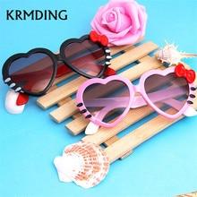 KRMDING 2018 fashion summer cartoon cute heart-shaped bow cat glasses sunglasses baby sun kid girl boy child goggles