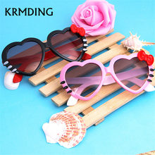 fad67047a8a KRMDING 2018 fashion summer cartoon cute heart-shaped bow cat glasses  sunglasses baby sun glasses kid girl boy child goggles