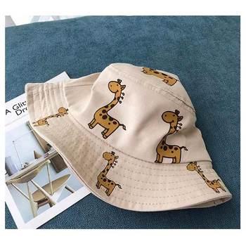 Cartoon Giraffe Printed Sun Hat for Kids 2