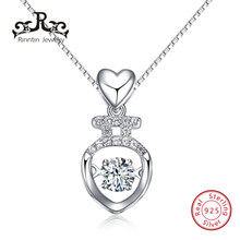 a1fc2fca92edd Rinntin Real 925 Sterling Silver Mini Pendant Necklace Romantic Style Heart  Shape Insert Movable Charm CZ Zircon Jewelry TSN52