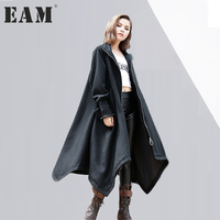 EAM 2017 New Autumn Winter Stand Collar Long Sleeve Solid Color Black Loose Big Size