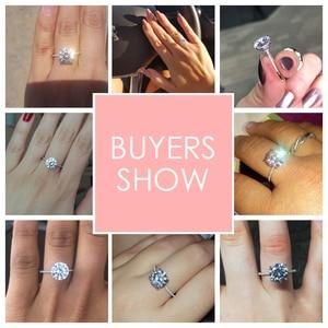 Image 2 - 2019 Classic Luxe Real Solid 925 Sterling Zilveren Ring 3Ct 10 Hearts Arrows Zirkoon Bruiloft Sieraden Ringen Engagement Voor Vrouwen