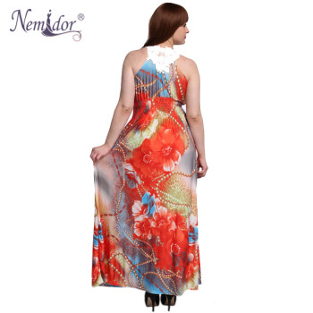 Women Casual V-neck Patchwork Print Stretchy Dress Loose Sleeveless Plus Size 6XL 7XL Maxi Dress 1