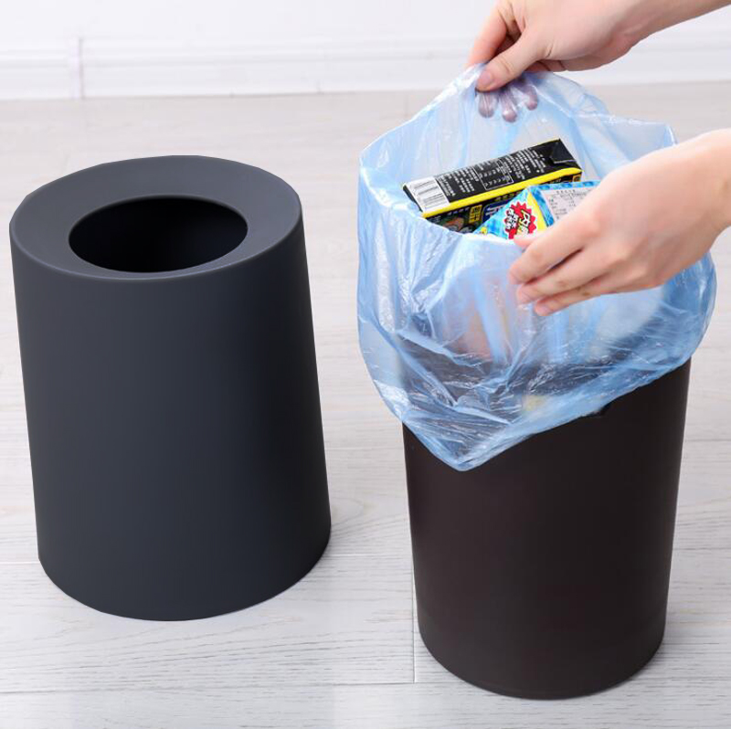 Shape Double Frosted Trash Bin Wastebasket Dustbin Large Capacity Rubbish Storage Dust Trash Can Bin Paper Basket Garbage Trash キッチン シンク 便利 グッズ